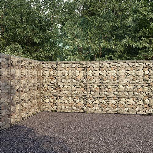 vidaXL Gabionenwand mit Abdeckung Gabione Steinkorb Steingabione Gabionen Wand Drahtkorb Draht Mauer Garten Verzinkter Stahl 600x30x200cm 1400kg/m³