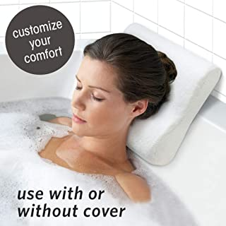 """MICRODRY Dual Function Cushioned Bath Pillow with Removable Cover & Freshening CharTech Technology, 12""""x12""""x4"""", White"""