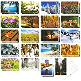 40 Pack Postcards Set for All Occasions in 20 Assorted Nature Photos Four Seasons, 4x6