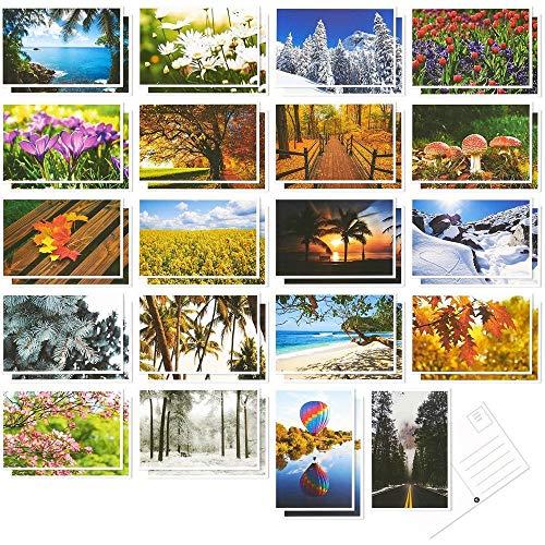 40er-Pack Postkarten - Vier Jahreszeiten Postkarten-Set - Herbst, Herbst, Winter, Sommer, Frühling Thema Self Mailer Postkarten mit Versand Seite - 20 Bilder Designs Porto Saver - 10,2x 15,2cm