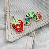 Lsgepavilion Cartoon Strawberry Brooch Pin Worm Shape Enamel Badge Coat Collar Lapel Clothes Hat Jewelry Decor Strawberry #
