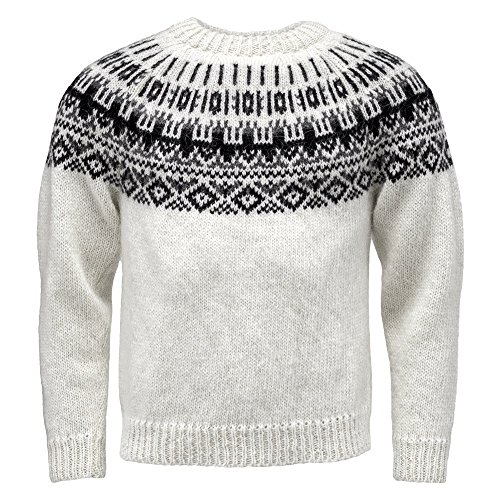 ICEWEAR Elis Men's Sweater Lopapeysa Design 100% Icelandic Wool Long Sleeve Winters Sweater Without Zipper | White - XL