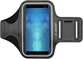 J&D Armband Compatible for Sony Xperia 5/Xperia XZ3/Xperia 1 Armband, Sports Armband with Key Holder Slot, Perfect Earphone Connection While Workout, Running Sony Xperia XZ3 Running Armband - Black