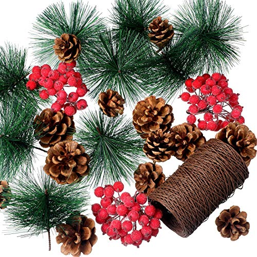 150 Set Decor di Bacche Rosse di Natale 120 Bacche di Agrifoglio Glassate Rosse Artificiali 30 Pigne Artificiali, Rami di Pino e 100 Metri Corda di Carta Metallica Marrone per Decor Albero Natale