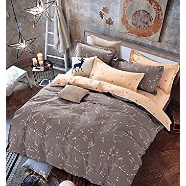 OWLHT 3 Pieces Bedding Sets for Unisex 100% Cotton 800TC 1 Duvet Cover and 2 Pillow Cases Included Starry Sky Constellation Patterns King Size