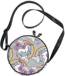Ahomy Umhängetasche Cartoon Einhorn Regenbogen Wolken Trendy Kinder Mädchen Runde Geldbörse Schultertasche Handtaschen