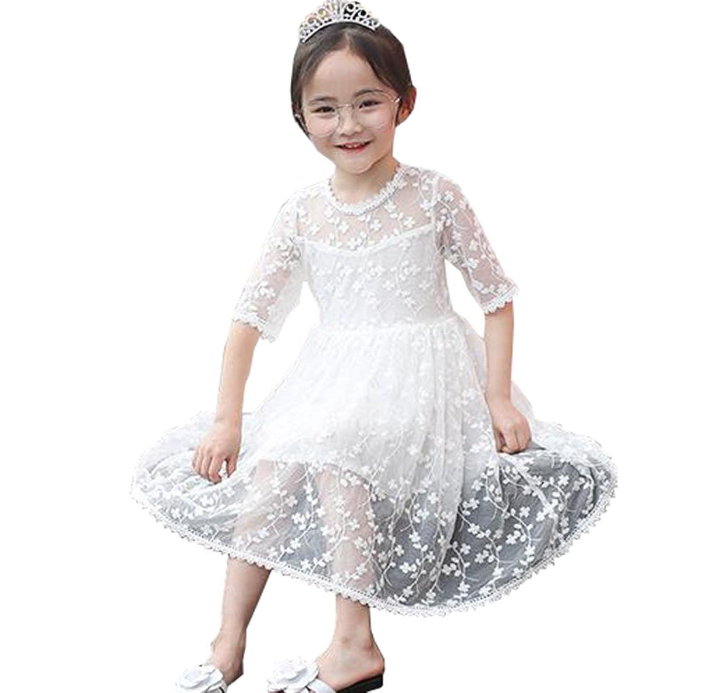 DuWei (ドゥウェイ) レース ワンピース ドレス ガールズワンピース 女の子 チュールスカート キッズドレス 子供服 プリンセススカート 結婚式 演奏会 ピアノ 発表会