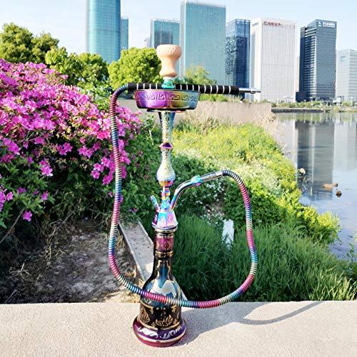 TYX-HOME Shisha Árabe Colorida De La Cachimba, Cachimba Árabe Grande De Aleación De Zinc De 29.5 Pulgadas con Olla Colorida Y 1Hose, Juego Completo Fumar para Barra Boquilla De Papel Aluminio Vidrio