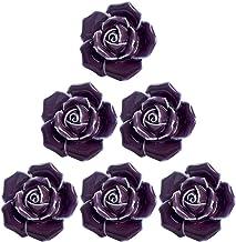 BESTonZON Meubelknoppen vintage rozen design kastknoppen 6 stuks paars bloemen kast lade kast handgrepen deurgrepen kledin...