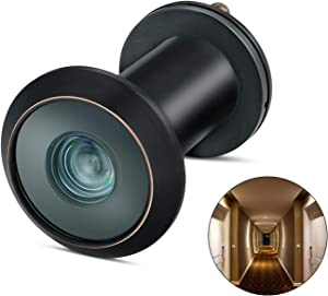 "TOGU TG3016YG-CBC UL Listed Solid Brass HD Glass Lens 220-degree Door Viewer Peephole with Heavy Duty Privacy Cover for 1-3/8"" to 2-1/6"" Doors, Classic Matte Black with Red Copper Edge Line Finish"