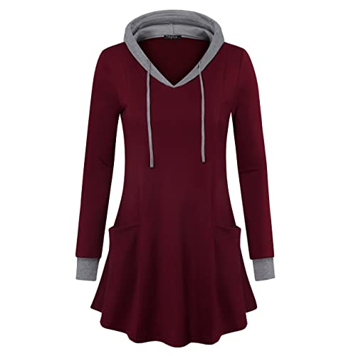 1a8013ae38347 VALOLIA Women s Pullover Hooded Sweatshirt Long Sleeve T Shirt Color Block  Thin Tunic Top with Pockets