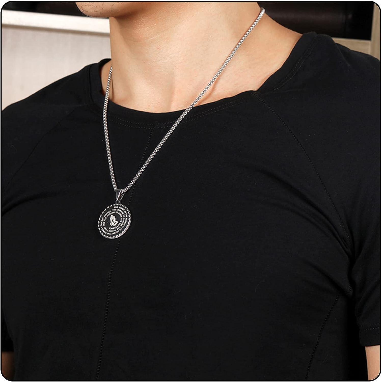 Fusamk Fashion Stainless Steel Prayer of Hand Medallion Pendant Lord's Prayer Necklace