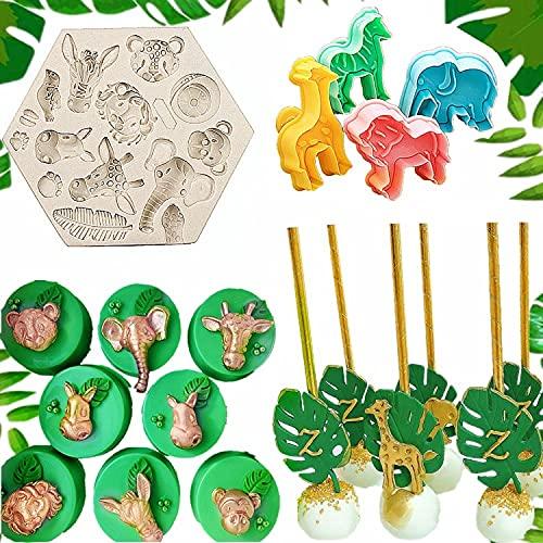 JeVenis Set of 5 Jungle Safari Animal Cake Mold Jungle Safari Animal Cupcake Decoration Jungle Animals Cookie Cutters Jungle Safari Animal Cake Decoration for Jungle Safari Animal Party Baby Shower