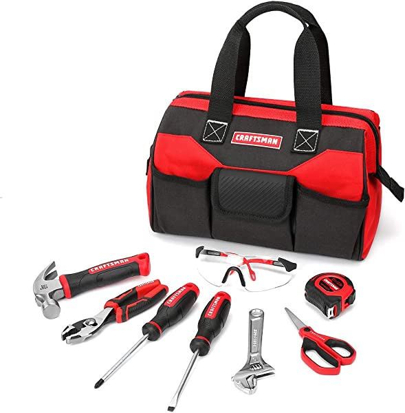 Craftsman CMXTYAG65549 8Piece Kids Junior Tool Set With Tool Bag Real Tools Accessories For Boys Girls Age 8