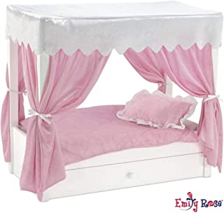 Emily Rose Doll Bed fits American Girl Doll Canopy Bed & Doll Clothes Trundle Storage - 18