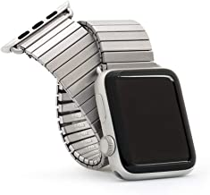 Twist-O-Flex Metal Expansion 38mm / 40mm Stainless Steel Stretch Watchband Replacement for Apple Watch Series 1, 2, 3, 4 and 5 in Brushed, Silver and Black by Speidel