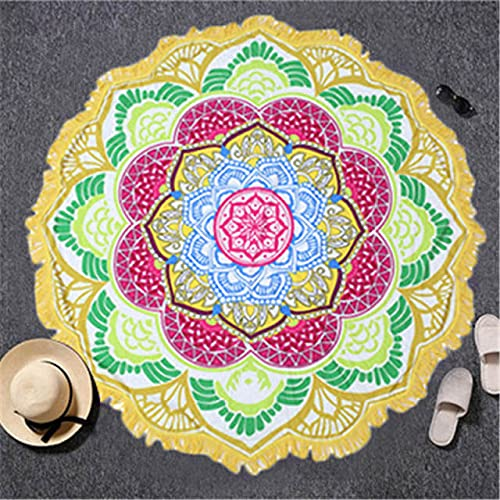 IAMZHL Toalla de Playa Borla Toalla Tapiz Bloqueador Solar Redondo Toalla de baño Lotus Yoga Mat 150cm-a16-Diameter 150cm