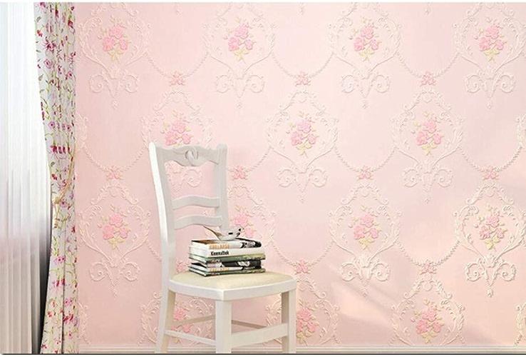 XFDJYA Papier Peint Papier Peint 3D Rouleaux Chambre Salon Home Decor Beige Rose Vert Fleur Papier Peint pour Murs Floral