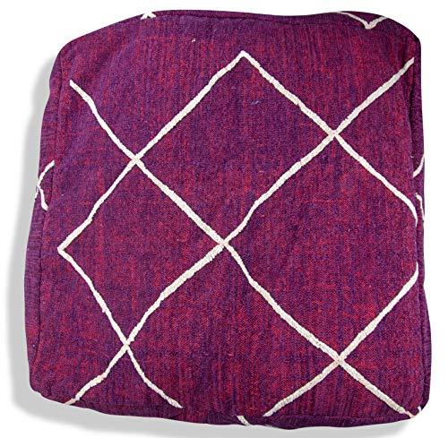 Poufs&Pillows Kilim Hocker, handgefertigt, Berber marokkanisch, 100% Wolle und Baumwolle, Bodenkissen, Ottoman, Fußstütze, Wolle,Kelim Pouf 72x72x25 cm (Lila)