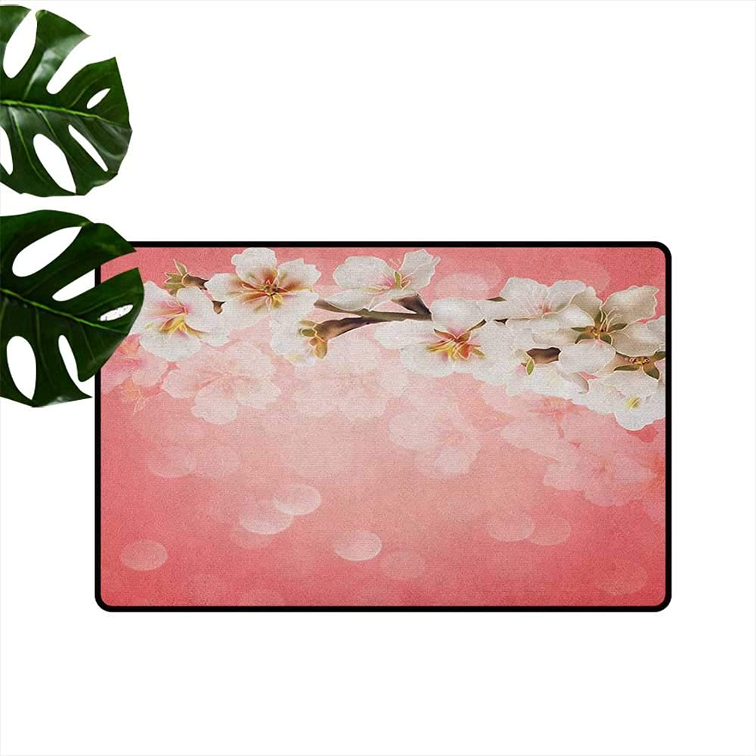 Coral Thin Door mat Blossoming Tree Branch Japanese Cherry Sakura Fresh Spring Garden Romantic Quick and Easy to Clean W35 x L59 Coral Green White