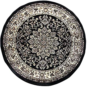Deir Debwan Traditional Persian Round Black Area Rug 330,000 Point Design 603 (4 Feet X 4 Feet Round)