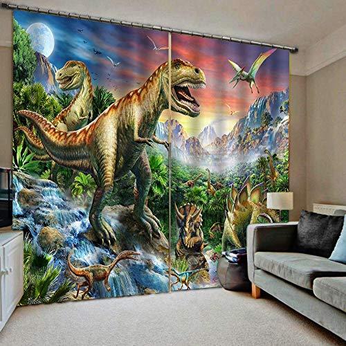 EZEZWSNBB 3D Verdunkelungsvorhänge Welt der Dinosaurier Wärmedämmender Vorhang aus Polyester Energiesparen Lärm reduzieren Behandlung für Schlafzimmer Wohnzimmer Kinderzimmer Vorhänge 220x 215 cm