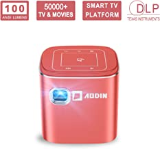 AODIN Fusion Mini Projector, 100 ANSI Lumens LED Smart WiFi Pico Projector with HDMI, USB, Compatible with iPhone, Android, Laptop for Home Entertainment, Outdoor Movies