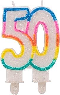 Folat 22895 50-årsdag glitterljus med 2 hållare, flera färger