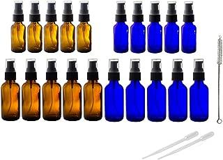 Amber & Cobalt Blue Glass Bottles Treatment Pump 20 PCS Set Kit- Includes 5-1 oz Amber Bottle, 5-2 oz Amber Bottle, 5-1 oz Cobalt Blue Bottles, 5-2 oz Cobalt Blue Bottles + 2 Pipettes,1 bottle brush