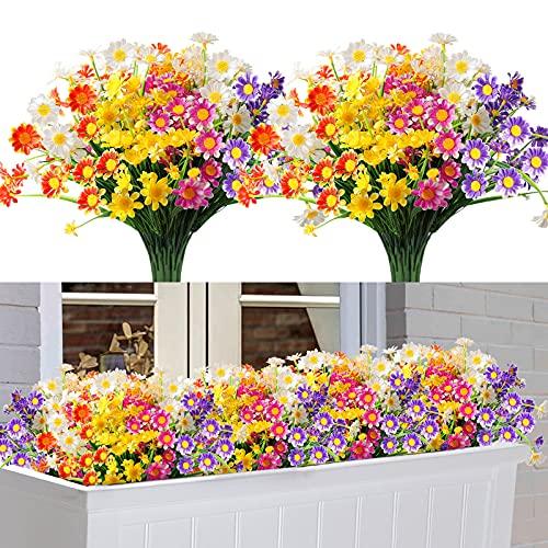 10 Piezas Flores Artificiales, 5 Colores Pequeñas Flores de Plástico Crisantemo, Flores Falsas Resistentes Rayos UV Exterior Interior, para Decoración Banquete Boda Ventana Porche Jardín Grave