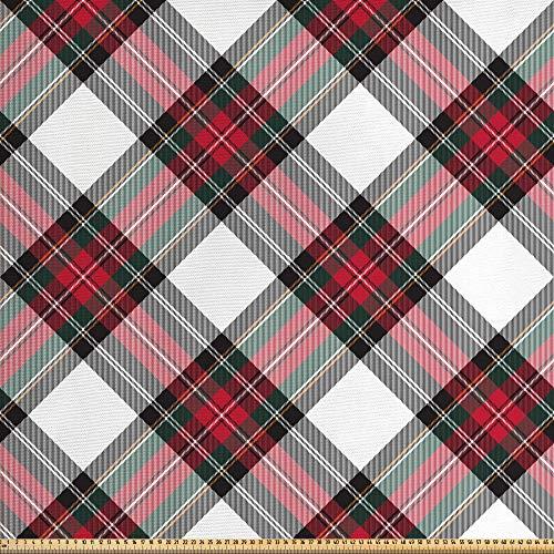 ABAKUHAUS Schotse ruit Stof per strekkende meter, Plaid Motif Rhombuses, Decoractieve Stof voor Stoffering en Interieuraccent, 2 m, Veelkleurig