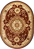 Carpeto Rugs Tapis Ovale Salon Marron 140 x 190 cm Oriental/Iskander Collection