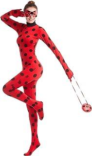 Disfraz de Mariquita Milagrosa para Adulto Mujer Halloween Ladybug Viste A Cosplay Leotardo Bodysuit con Lunares + Máscara de Ojos + Yo-Yo Bolsa Niños 3Pcs Trajes de Partido Carnaval