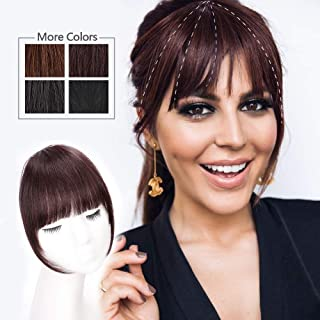 HMD Clip in Bangs 100% Human Hair Extensions Red Brown Clip on Fringe Bangs with nice net Natural Flat neat Bangs with Temples for women One Piece Hairpiece for Daily Wear(Color:Dark Red Brown)