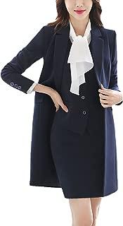 Women Notch Lapel Business Work OL Slimming Fit Long Blazer