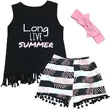 MOGOV Baby Girl Summer Outfits Cartoon Mermaid Print T-Shirt Short Tassel Pants Clothes