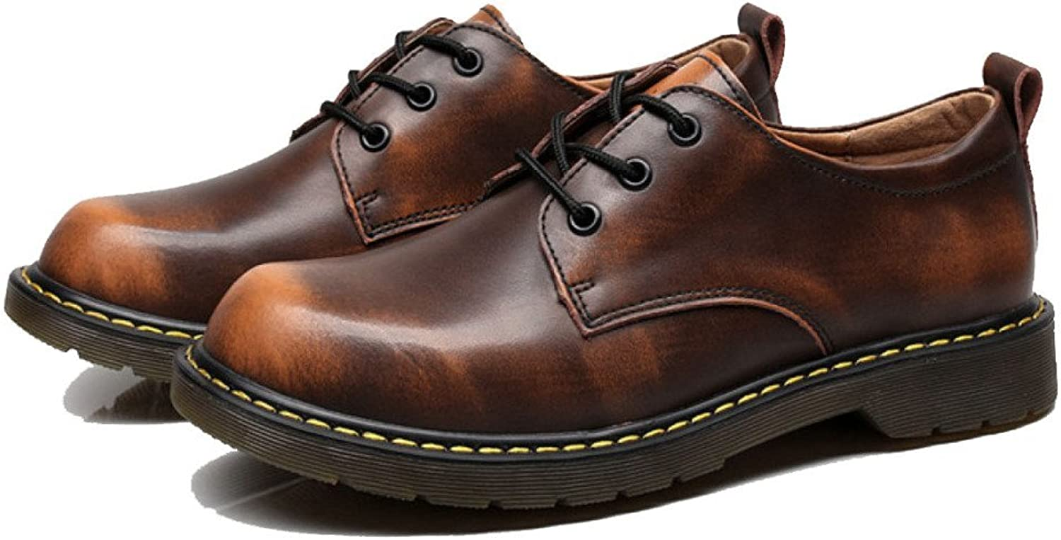 LYZGF Men England Casual Martin shoes Fashion Booties Youth Outdoor Retro Lace Leather shoes