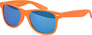 High Quality Blue Rubber Nerd Rubber Vintage Retro Style Unisex Sunglasses With Spring Hinge and Red Mirrored Lenses
