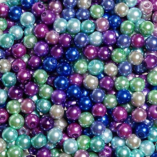 TOAOB 1000 Stück 4mm Glasperlen Runde Sortierte Mehrfarbig Perlen für Schmuckherstellung