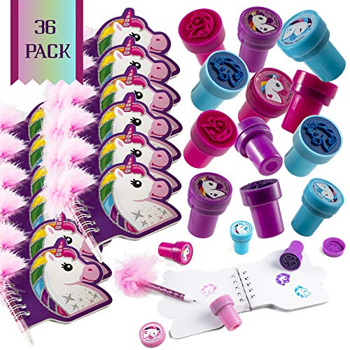 Favinor™ Unicorn Stationary Party Souvenirs Favors 36 Gift Pack – 12 Mini Notebooks – 12 Feather Pens – 12 Stampers – Kids Birthday Party Supplies Bulk Set - Ideal As Party Favor, Reward Prizes, carnival And Events