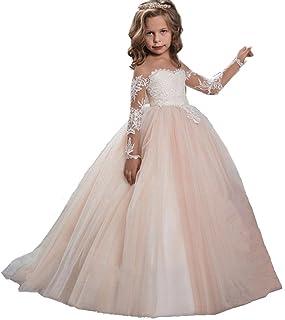 0c2b7222adc76 KekeHouse Dentelle Manches longues robe de Fille demoiselle D honneur  Mariages Ceremonie Robe de Princesse
