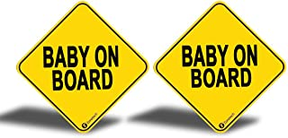 Zone Tech Baby On Board Vehicle Bumper Magnet - 2-Pack Premium Quality Convenient Reflective Baby On Board Vehicle Safety Funny Sign Bumper Magnet