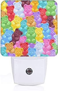 LFCLOSET Rainbow Gummy Bear Candy Pattern Plug-in LED Night Light with Dusk-to-Dawn Sensor Energy Efficient, Bedroom, Bathroom, Kitchen, Hallway, Stairs