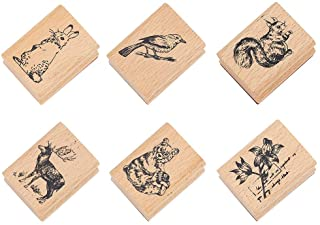 NBEADS 6 Pcs Animal Pattern Wooden Stamps, Rectangle Animal Pattern Printed Ink Stamps Decorative Rubber Stamp Set for DIY...