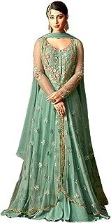 SuperX Women's Heavy Net & Rangoli Saatin Anarkali Suit (Maisha_7107_Free_Size)