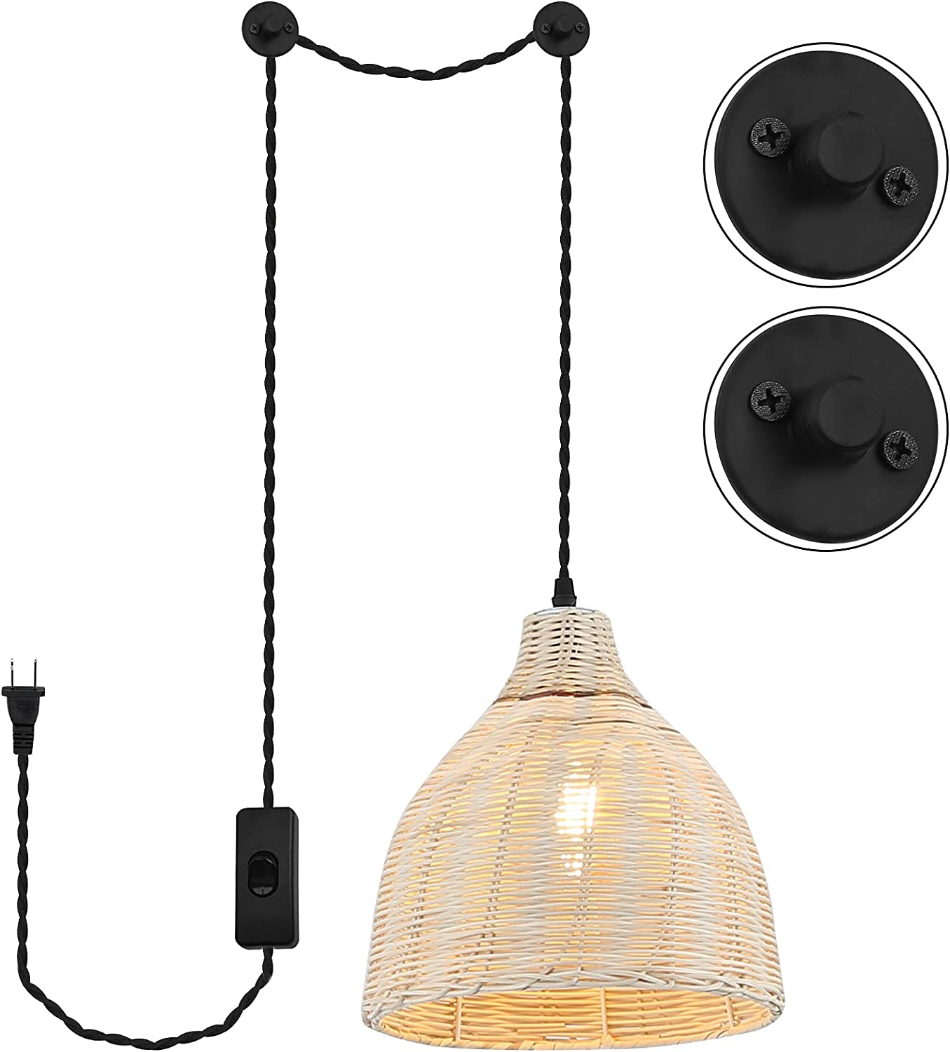 Plug in Vintage Super special price Pendant Lighting Lamp Hanging Bamboo Colorado Springs Mall Fixture for