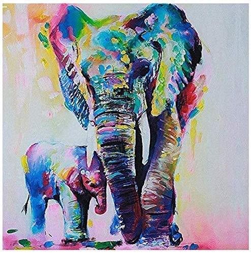 Kits de pintura por números Elefante y elefante bebé para adultos, principiantes y niños, estudiantes, lienzo, kit de pintura al óleo con juego de pinceles, pinturas acrílicas, para decoración de