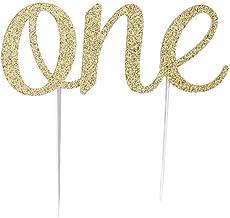 1 tapa para tartas de Lumanuby, material Eva para decoración de tartas, diseño de palabras One Design, tamaño: 15 x 5,5 cm, maravilloso cubrepasteles, color dorado