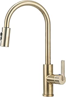 Derengge FK-258R-CS Single Handle Pull-Down Kitchen Faucet with Deck Plate,1 Hole or 3 Hole Installation, Meets UPC cUPC NSF AB1953 Lead Free Certification,French Brushed Bronze Finished