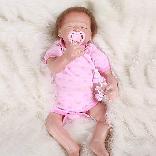 LUCKYFANWU Simulationspuppe, realistische wiedergeborene Puppe, Rosa Kleidung, 20 Zoll, kann Sich hinsetzen, kann Sich hinlegen, Baby Begleiter Spielzeug, Junge mädchen Spielzeug